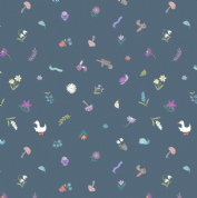 Lewis & Irene - Jolly Spring - 6354 - Scattered Garden Motifs on Denim Blue - A342.3 - Cotton Fabric
